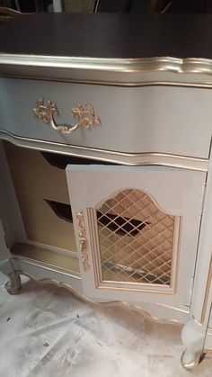 Modern Masters Warm Silver Metallic Paint on the inside drawers and furniture accents   Vintage Charm Restored