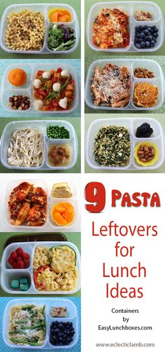 A collection of 9 different #pasta #recipes. Ideas for packed lunch, dinner, or anytime. A great way to enjoy #leftovers the next day. Packed in @easylunchboxes