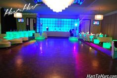 VIP Nightclub Bat & Bar Mitzvah & Party Ideas - Club Theme Light-Up Tables & LED Backdrop, Blue & Green {Dynamic Events} - www.mazelmoments.com/blog/19023/lounge-club-nightclub-theme-ideas-bar-bat-mitzvah-party-sweet-16/