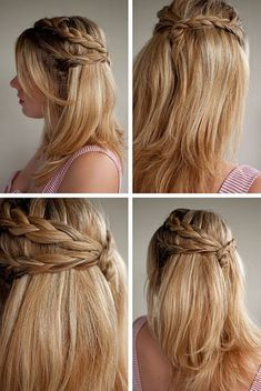 Half-up hairdo how-to: cute hairstyle for short OR long hair! Description from pinterest.com. I searched for this on bing.com/images