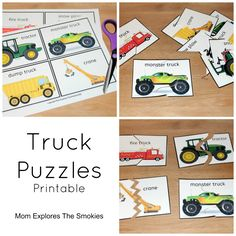 Free Printable Truck Puzzles, Mom Explores The Smokies Car Activities, Gross Motor Activities, Alphabet Activities, Preschool Activities, Transportation Unit, Puzzle Crafts, Puzzles For Toddlers, Construction Theme, Teaching Kids