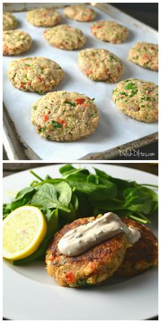 These salmon cakes are a great way to convince picky eaters that salmon is delish, and an awesome way use up leftover cooked salmon! I'm a huge fan of salmon, Salmon Cakes with Creamy Mustard Sauce - Salmon Cakes with Creamy Mustard Sauce Fish Recipes, Seafood Recipes, Great Recipes, Cooking Recipes, Favorite Recipes, Recipies, Fish Dishes, Seafood Dishes, Salmon Patties Recipe