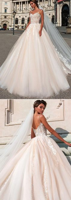 Attractive Tulle Spaghetti Straps Neckline Ball Gown Wedding Dress With Beaded Lace Appliques