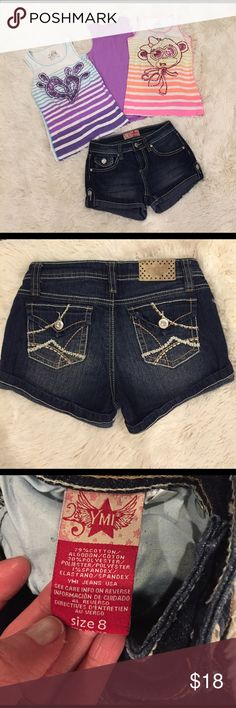 Justice Girls Size 8 Bundle Tank Tops Jean Shorts ADORABLE Justice Girls Size 8 Bundle OF 3 Tank Tops. One pair of Jean Shorts brand is YMI size 8. Check out my closet and BUNDLE AND SAVE!! I review all offers promptly! 💕💕 Justice Shirts & Tops Tank Tops
