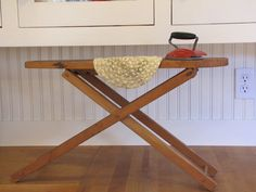 Antique+Childs+Wooden+Ironing+board+and+Iron+Childs+by+SundayTown,+$60.00