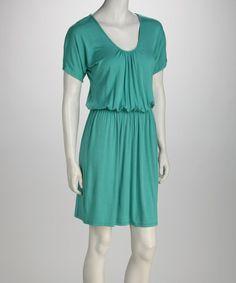Another great find on #zulily! Emerald Gathered Scoop Neck Dress by Butterflyzebra #zulilyfinds
