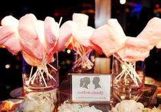 Give your guests fabulous fluffy cotton candy as a sweet favor!  Photo by Perez Photography  #wedding #favor #cottoncandy