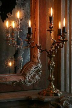Love the candlestick ... love the mirror