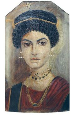 Mummy-portrait in encaustic waxes on a wooden panel, depicting a woman wearing a red tunic and elaborate jewellery : Ancient Egyptian, from Hawara, Mid Roman Period, 110-30 AD