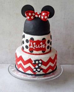 Chevron and Polka Dots Minnie Mouse Cake