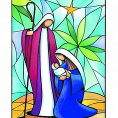 Stained Glass Christmas, Faux Stained Glass, Stained Glass Designs, Stained Glass Projects, Stained Glass Patterns, Christmas Rock, Christmas Nativity Scene, Christmas Projects, Christmas Paintings