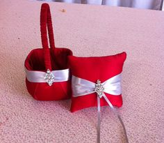 Red and Silver  Satin Flower girl basket and by sashesforlove, $32.00