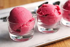 Homemade Strawberry Sherbert! I was so surprised this week when I realized they don't make strawberry flavored sherbert. Sounds easy to make my own! :) This would be so tasty in some pink party punch.