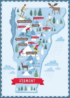 "State Art - ""Illustrated Map of Vermont"" wall art by Nate Padavick available at Great BIG Canvas. Travel Maps, Travel Posters, Travel Usa, Spain Travel, Travel Photos, New Hampshire, Travel Illustration, Map Design, Graphic Design"