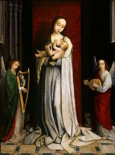 MADONNA and CHILD with TWO MUSIC MAKING ANGELS -1498- Gerard David (c. 1460 – August 13, 1523)  Early Netherlandish painter famous for his fantastic use of color.
