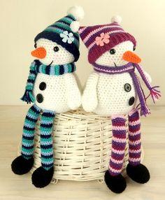 (4) Name: 'Crocheting : Mr & Mrs Snow, Winter Longlegs Dolls
