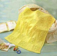 Детский желтый плед, связанный спицами - фото