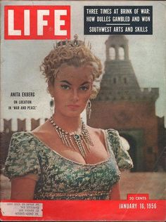 "Life Magazine January 16 1956.  Anita Ekberg On Location In ""War and Peace."""