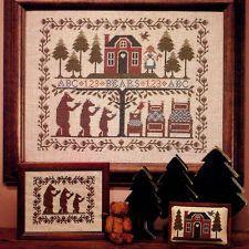 cross stitch booklet PRAIRIE SCHOOLER THE THREE BEARS Goldilocks sampler OOP
