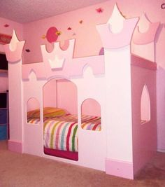 Bedroom , The Princess Castle Bedroom : The Princess Castle Bed Pink Color With Striped Bedding