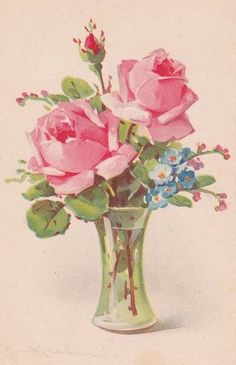 Pink Roses And Forget-Me-Nots Post Card By Catherine Klein