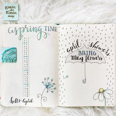 APRIL SHOWERS BRING MY FLOWERS BULLET JOURNAL LAYOUT - This will be a part of the Monthly Gallery on the new site. I apologize for the delay in Part Three of Mood Tracking: The Mood Mandal...