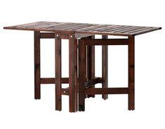 ÄPPLARÖ Table à abattants, extérieur, teinté brun brun