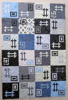 Modern Churn Dash quilt, customer quilt by Patsy seen at Sewgrateful Quilts