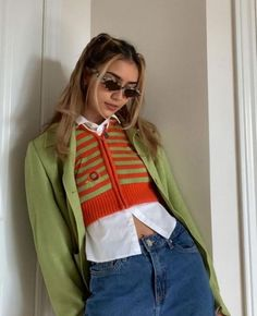 Komplette Outfits, Retro Outfits, Spring Outfits, Casual Outfits, Fashion Outfits, Aesthetic Fashion, Look Fashion, Aesthetic Clothes, 00s Mode