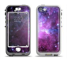 The Violet Glowing Nebula Apple iPhone 5-5s LifeProof Nuud Case Skin Set