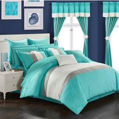 Customize the color blocked 24 Piece Arisa Bed in a Bag Comforter Set by Chic Home by choosing from available colors. For a complete bedroom makeover,. Teal Bedding Sets, Teen Bedding, King Comforter Sets, Red Comforter, Bedroom Turquoise, Tiffany Blue Bedroom, Teal Bedroom Decor, Bedroom Themes, Bedroom Decor