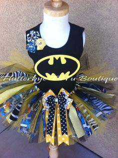 Shabby Miss Bat Batman TuTu Set w/ Fabric by flutterbyetutu, $58.50