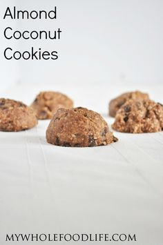 These Almond Coconut Cookies are delish.  Only 6 ingredients. NO flour and NO oil.  This healthy cookie recipe is vegan, gluten free and paleo.