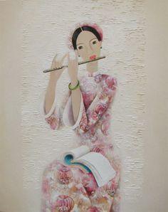 Vietnamese Artist Phan, Linh BAO HANH - BORN IN 1981 IN HUE, Vietnam - Lady Plays Flute (SOLD)