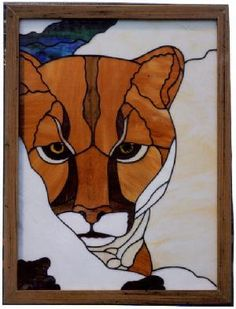 stained glass big cat