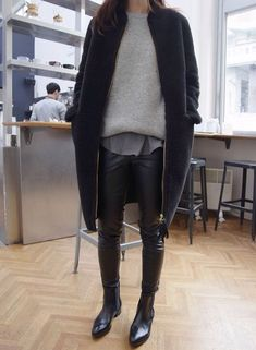 Leather pants grey pullover oufit black Outfit black everything Fashion random