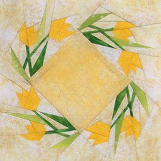 Mystery Block 68 Reveal: Paper-pieced quilt pattern featuring tulips going round and round and round. Paper Pieced Quilt Patterns, Quilt Block Patterns, Applique Quilts, Pattern Blocks, Pattern Paper, Quilt Blocks, Flower Quilts, Foundation Paper Piecing, Barn Quilts