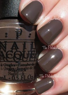 "OPI's ""How Great is Your Dane"" from its Fall 2014 Nordic Collection. Beautiful creamy dark chocolate with nice grey undertones!"