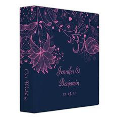 Pink Sketched Flowers on Navy Photo Album Binder