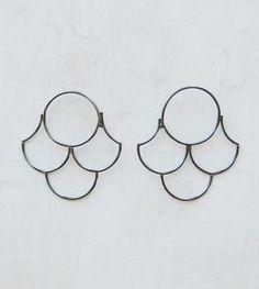 Scallop Silver Hoop Earrings