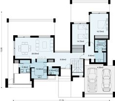 Move the garage to the left of the utility room and split the two bedrooms - one toward the front and one toward the rear. My House Plans, Modern House Plans, Small House Plans, Residential Architecture, Modern Architecture, Casas Country, Single Storey House Plans, Compact House, Storey Homes