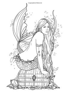 Selina Fenech Mermaid Coloring Book Pages - Bing images Mermaid Coloring Book, Fairy Coloring Pages, Colouring Pics, Coloring Pages To Print, Free Coloring Pages, Coloring Books, Evil Mermaids, Art Diy, Mermaid Art