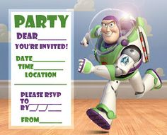 DISNEY COLORING PAGES: BUZZ LIGHTYEAR BIRTHDAY PARTY INVITATION CARD