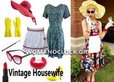 8 Εντυπωσιακές DIY Αποκριατικες Στολες Γυναικειες 2016 | womanoclock.gr Vintage Housewife, Short Sleeve Dresses, Dresses With Sleeves, Halloween Costumes, Summer Dresses, Fashion, Frida Kahlo, Moda, Sleeve Dresses