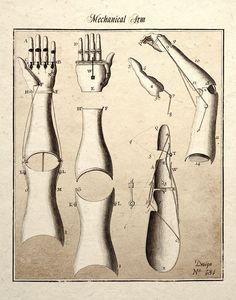 Steampunk Art Print Mechanical Arm Design