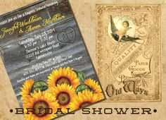 Sunflowers Rustic Wood Couples Shower by OldWaysFussNFeathers