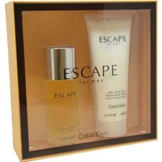 Escape by Escape for Men Gift Set 3.4 Ounce EDT Spray, 6.7 Ounce After Shave Balm by Calvin Klein. $48.51. This product is a fragrance item that comes in a giftset. It is recommended for casual wear. Escape was launched by the design house of Escape. Escape was launched by the design house of Escape. It is recommended for casual wear.