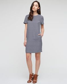 Silk Geometric Print T-Shirt Dress from Jigsaw is a versatile dress for the summer as it can be worn in the evening with some bright suede stilettos or a shoe boot or in the day with a pair of flats or plimsoles. The shift is an easy relaxed style for the summer.  £139.00