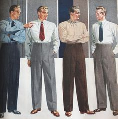 1943-1944 High waisted and pleated pants were worn during this time period. Collars on shirts were flat and men still wore oxfords. (Allison G.)