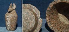 Ägyptische Urne mit Schakal und Schriftzeichen
